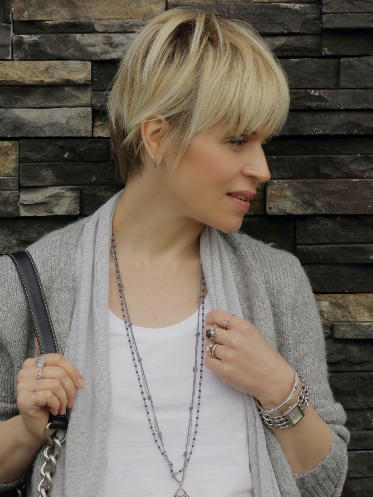 women's short hairstyle and jewellery accessories