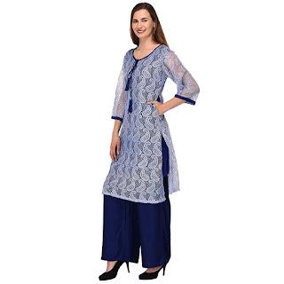 PATRORNA Cotton Viscose Women's Straight Net Kurti/Kurta