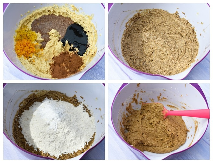 Step-by-step photos of adding spices, citrus peel, treacle, flax eggs, then flour to fruit cake batter