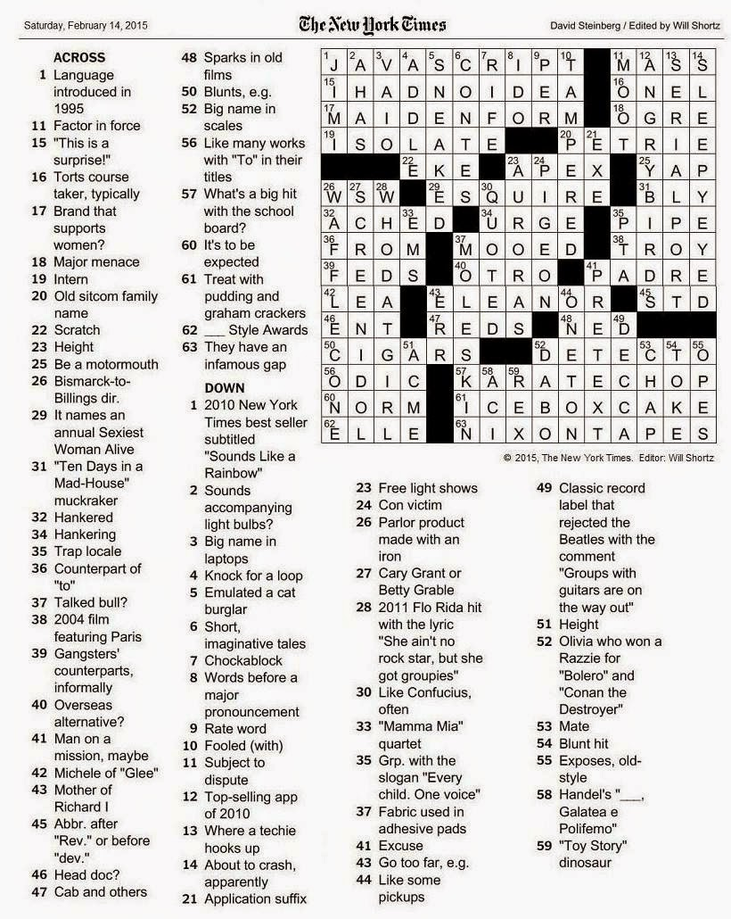 The New York Times Crossword in Gothic: 02.14.15 — Who Dat