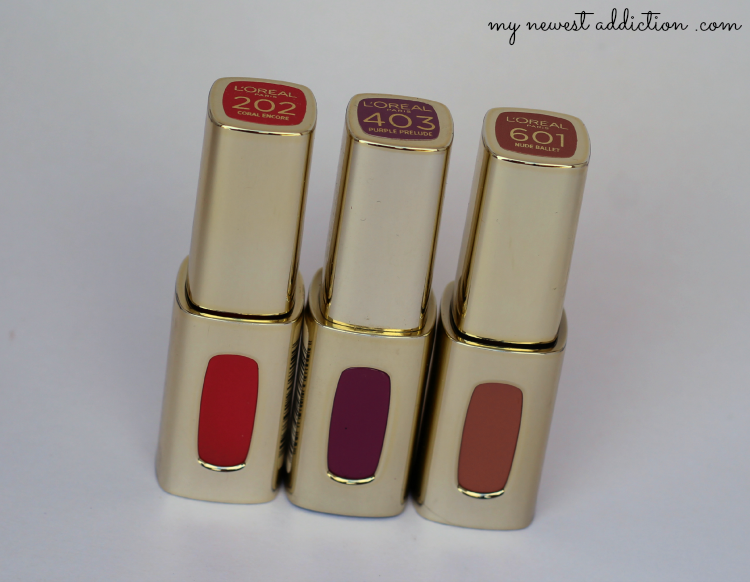L'Oreal lipstick lipgloss color riche extraordinaire liquid swatch review Coral Encore Purple Prelude Nude Ballet