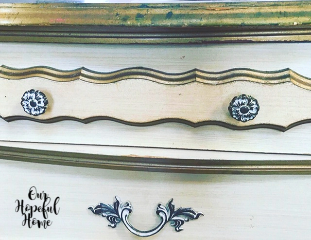 white brass French Provincial leaf drawer pulls