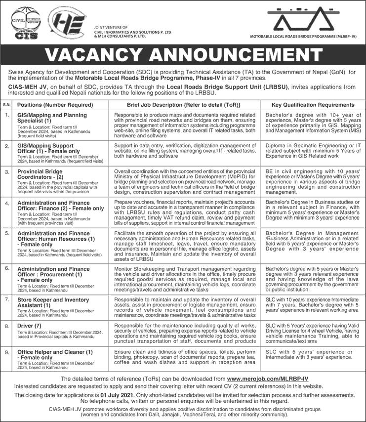 Motorable Local Roads Bridge Programme (MLRBP-IV) Job Vacancy for Various Positions