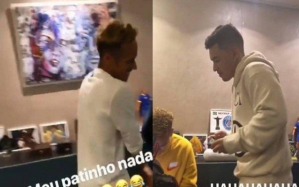 A parede da casa de Neymar com (esquerda) e sem (direita) o quadro (Foto: Reprodução/Instagram/Montagem/Jornal Extra)