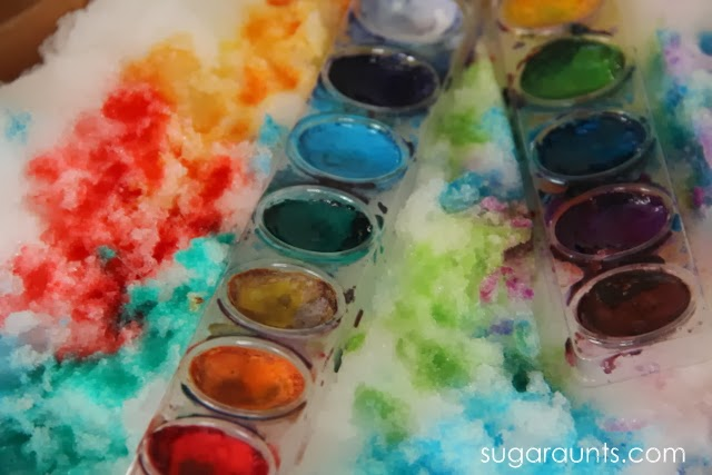 Creative painting with snow and watercolors