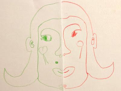 Links grün, rechts rot, in der Mitte gefaltet: Beide Hälften sind zeitgleich mit wenigen Strichen entstanden
