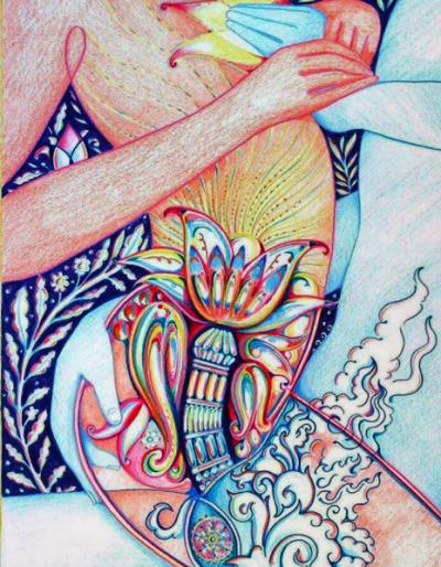 Ilustração representando o tantra, uma prática de magia sexual