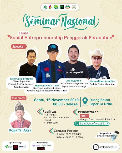 SEMINAR NASIONAL: Social Entrepreneurship Penggerak Peradaban