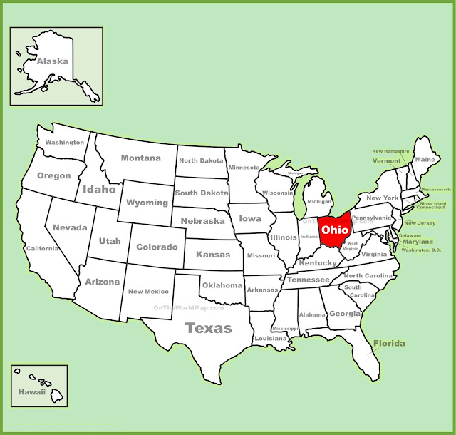 United States Map Map Of USA - Ohio on map