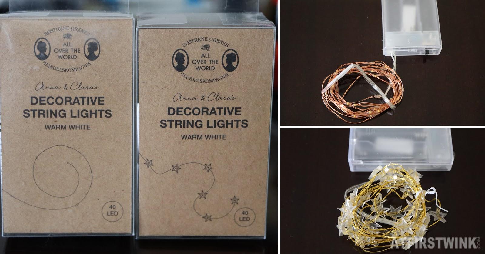 Søstrene grene decorative string lights star gold rose gold LED warm white light