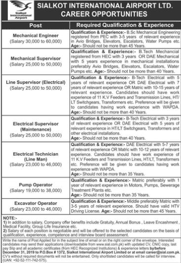 Jobs in Sialkot International Airport Ltd 2019 Advertisement