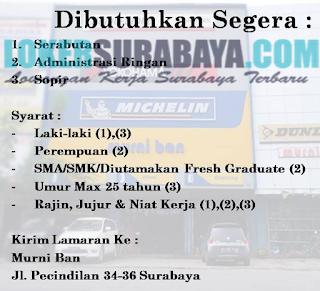 Bursa Kerja Surabaya Terbaru di Murni Ban Juni 2019
