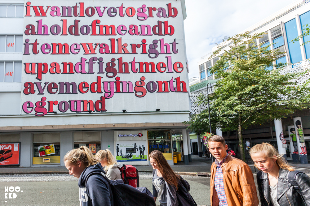 Stavanger Street Art - Ben Eine Typographic Street Art Mural in Stavanger, Norway. Photo ©Mark Rigney / Hookedblog