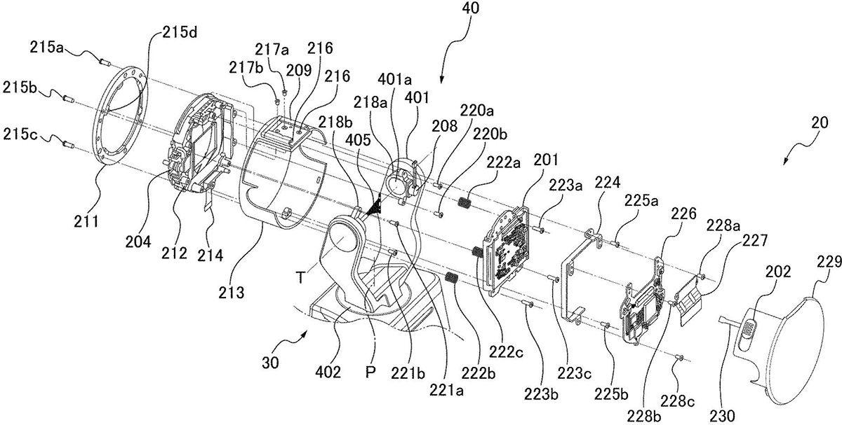 Схематичное изображение конструкции головной части из патента Canon