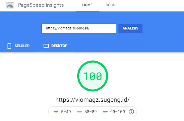 Vio Magz - Hasil tes Google PageSpeed Desktop