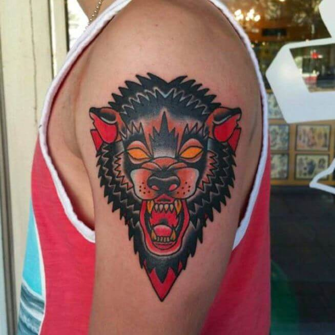 Traditional Wolf: 130+ Best Wolf Tattoos For Men (2019)