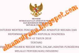 Permenpan RB No 42 [Tahun] 2018 (Tentang) Pengangkatan PNS DALAM Jabatan Fungsional MELALUI PENYESUIAN (INPASSING)