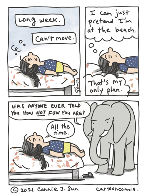 Sketchbook comic about being too tired to have fun after a long week, by Connie Sun, cartoonconnie