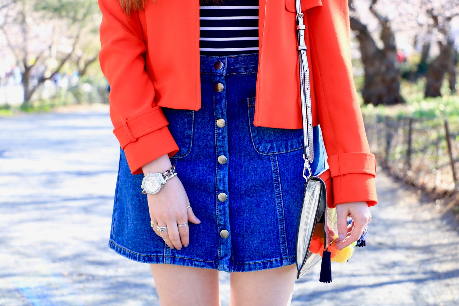urban outfitters denim button up skirt