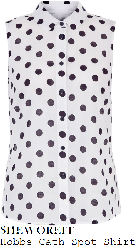 holly-willoughby-hobbs-cath-white-and-navy-blue-spot-print-sleeveless-button-up-collared-shirt