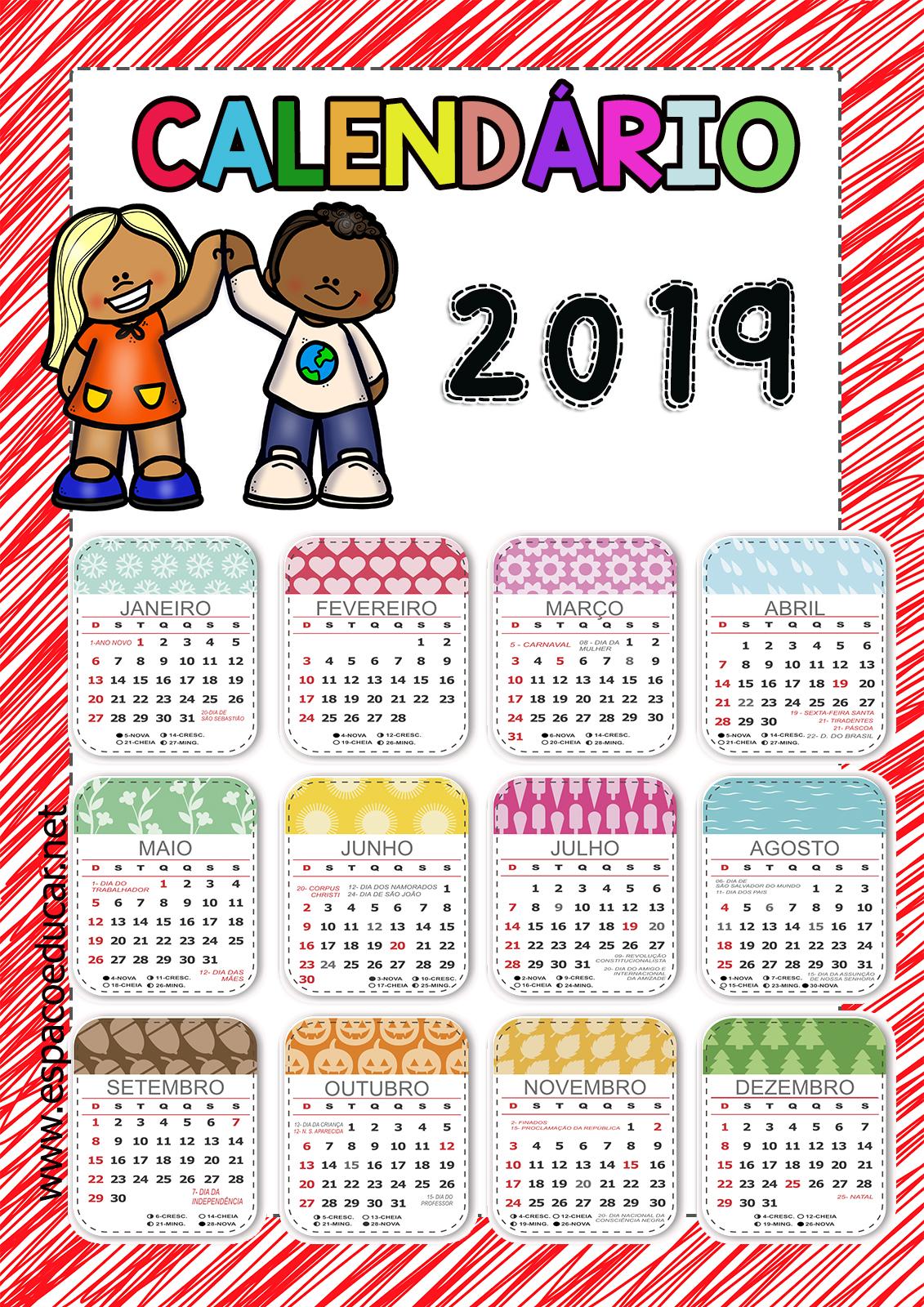 3 Modelos De Calendario 2019 Com Feriados Para Voce Imprimir