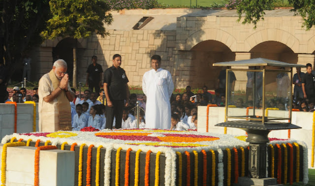 Modiji at RajGhat giving Tribute to Gandhi Jayanti Picture