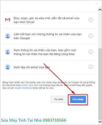 Cấp quyền truy cập cho Outlook 2019