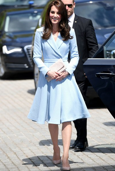 Kate Middleton wore a sky blue bespoke double wool crepe coat by Emilia Wickstead. Hereditary Grand Duchess Stéphanie wore Valentino ruffled dress