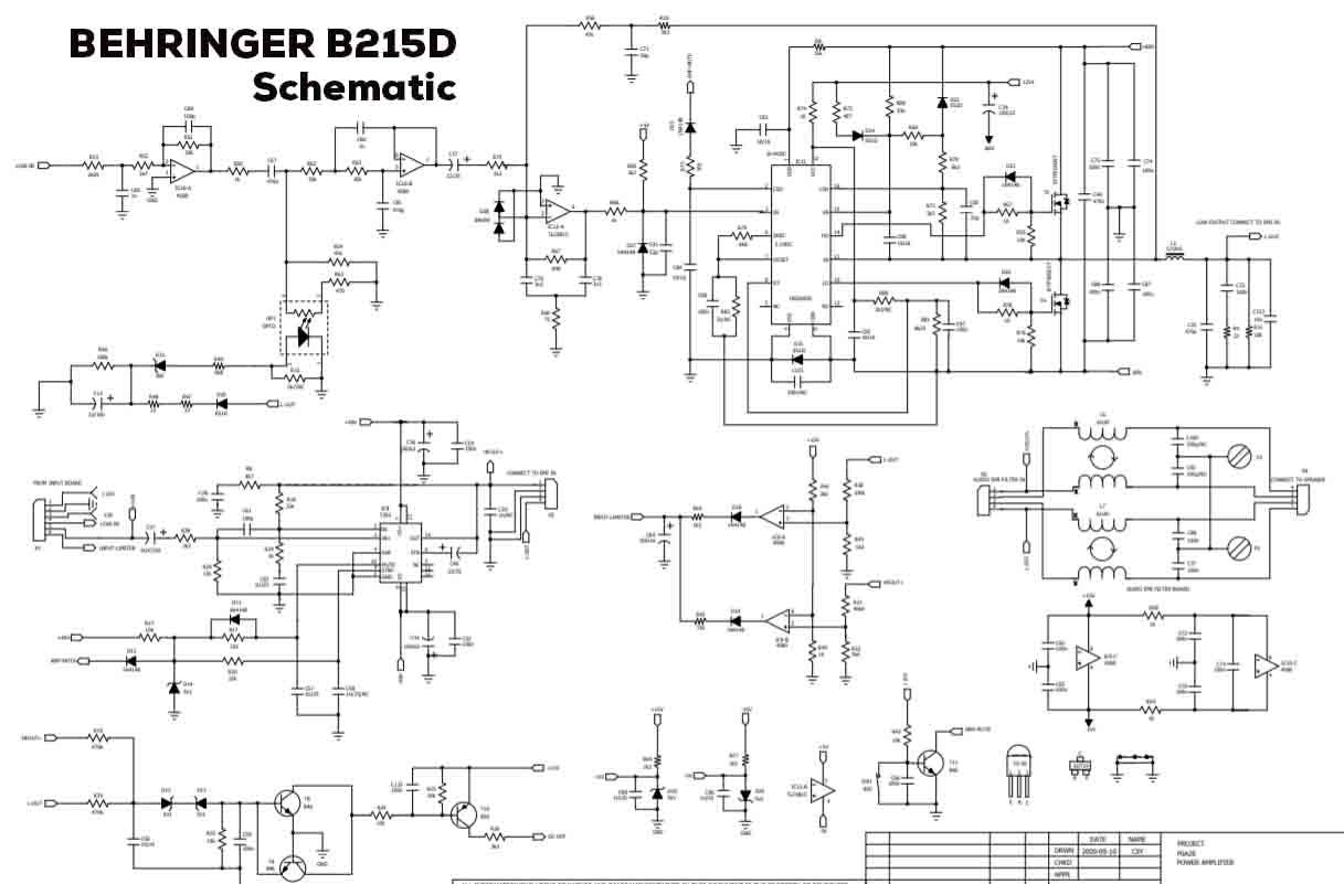 power amplifier class d behringer b215d schematic and pcb [ 1217 x 801 Pixel ]