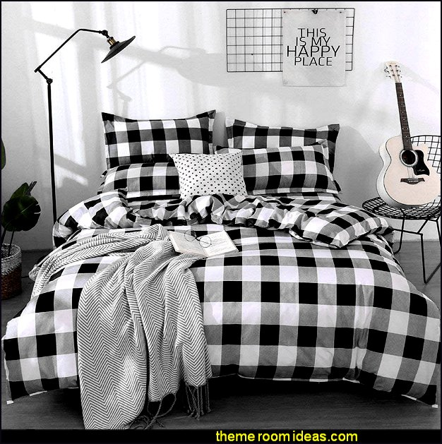 Farmhouse Buffalo Checked Bedding Set Black Gray White Plaid Comforter Cover