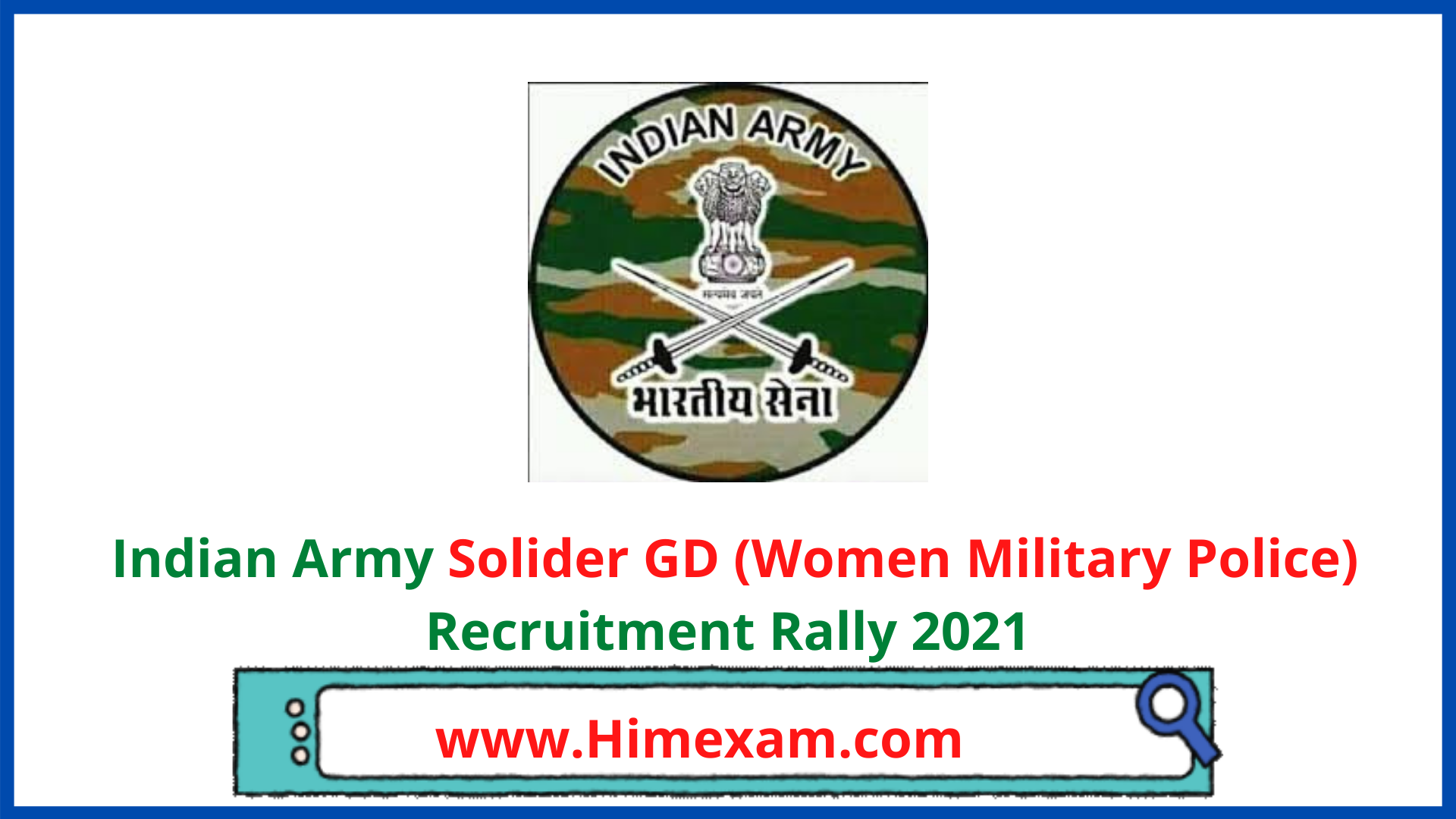 Indian Army Solider GD (Women Military Police) Recruitment Rally 2021