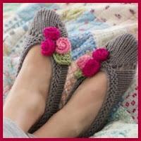 Zapatillas de punto con flores
