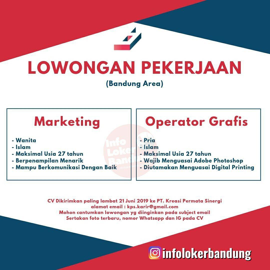 Lowongan Kerja PT. Kreasi Permata Sinergi Bandung Juni 2019