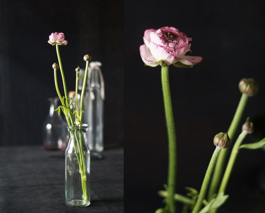 Blog + Fotografie by it's me!, Collage mit Ranunkeln und Glasflaschen
