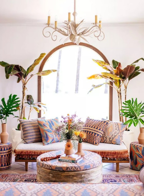bohemian interiors which tend to be patterned textiles