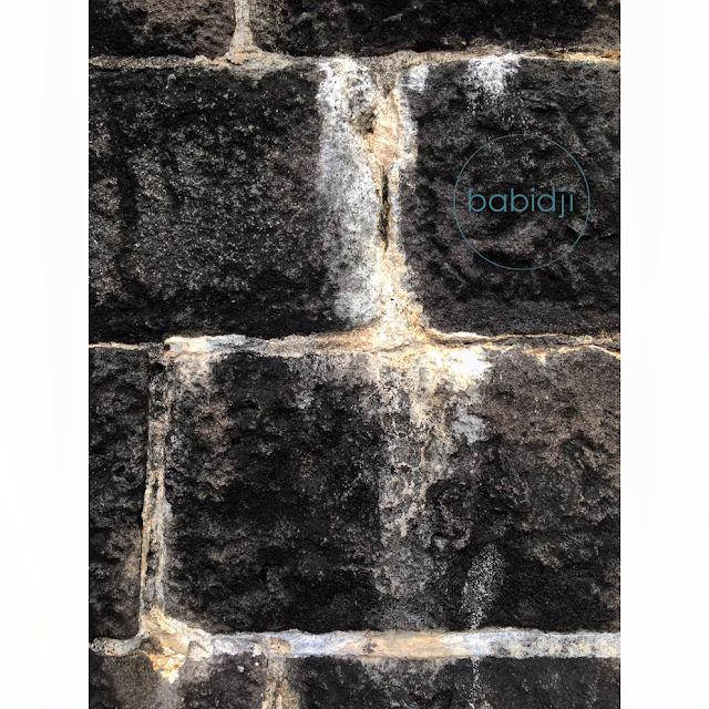 gros plan sur le mur de la Tour Martello à La Preneuse