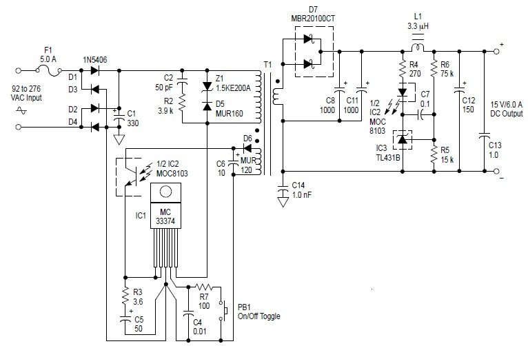Ac To Dc 90w Switching Adaptor Power Circuit Diagram