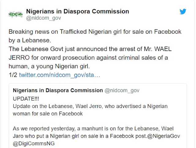 Breaking News: Lebanese Man Who Advertised A Nigerian Woman For Sale Has Been Arrested