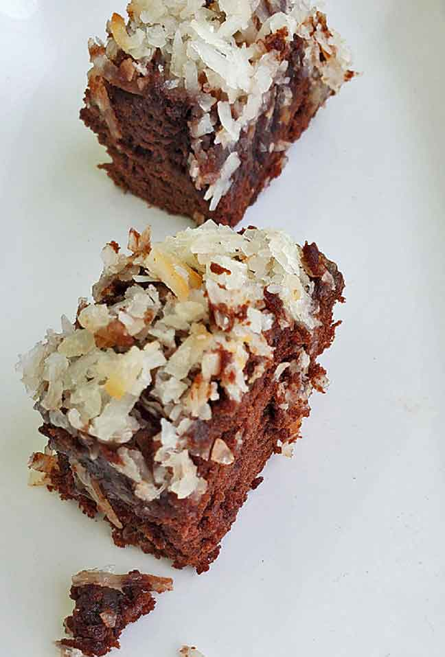 these are two German Chocolate coconut topped brownies