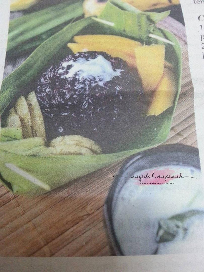 resepi pulut hitam, mangga dan pisang ala thai