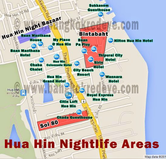 Map of Hua Hin red light district and guest friendly hotels.