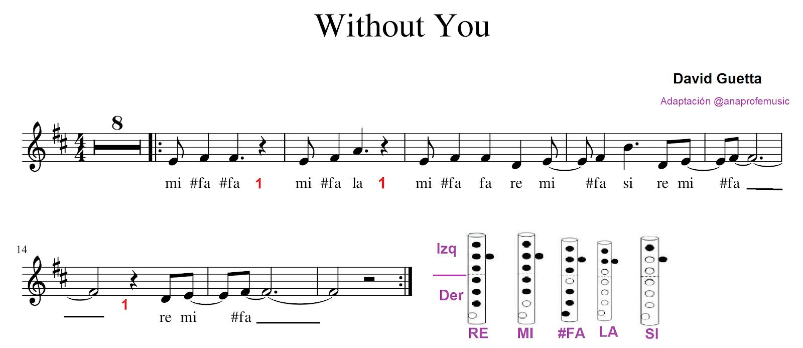 partitura without yout david guetta flauta