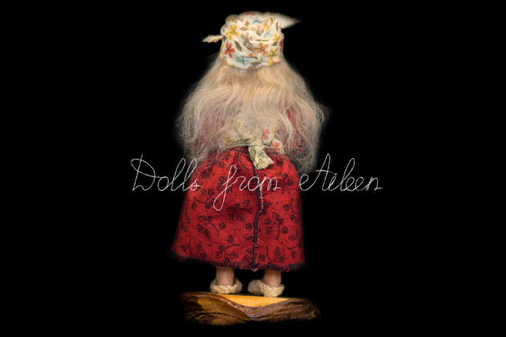 ooak miniature 'Baba Yaga' witch art doll, view from behind