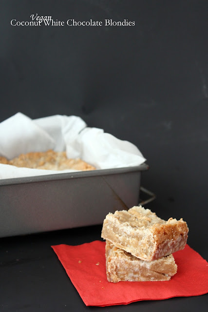 vegan coconut white chocolate blondies
