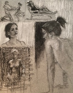 black white portrait figurative drawings on grey paper
