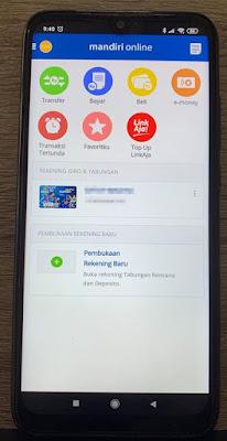 Pilih menu pada aplikasi Mandiri Online untuk mengakses status transaksi