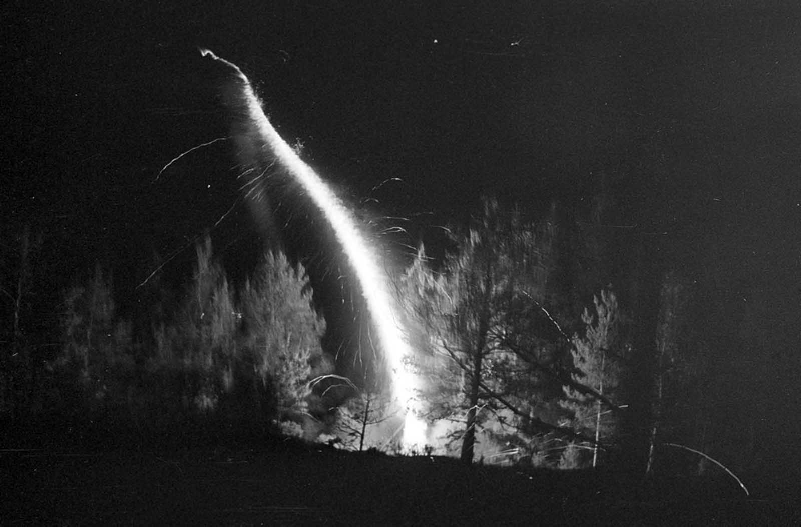 A small rocket launched in the woods.