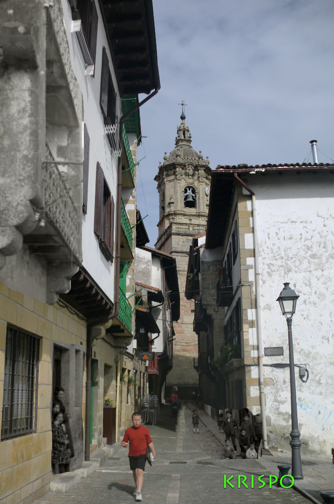 superposición de foto antigua y actual de casco viejo de hondarribia