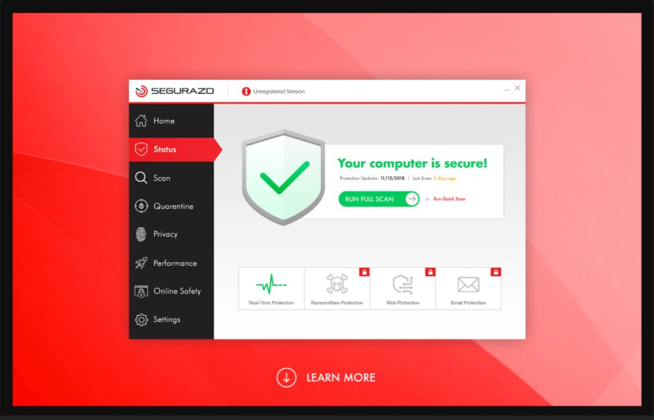 tampilan antivirus segurazo / segurazo.com