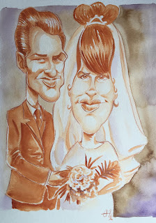 Caricature d'anniversaire de Mariage. Critérium 2mm marron et godet aquarelle terre de sienne, sépia et violet ©Guillaume Néel
